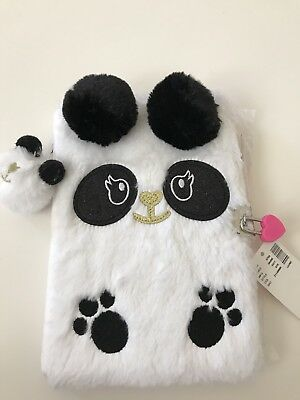 Justice Furry Black And White Panda Journal/Diary with lock/key - NWT