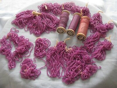 ANTIQUE VICTORIAN IRIDIZED FUCHSIA GLASS BEADS for PURSES, CRAFTS, JEWELRY, LACE