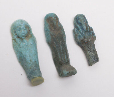Lot of 3 Ancient Egyptian Faience Ushabti Figures c.600-30 BC.