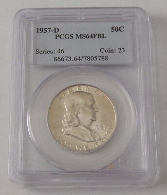 1957 D 50C Franklin Half Dollar PCGS MS64FBL Full Bell Line MS64