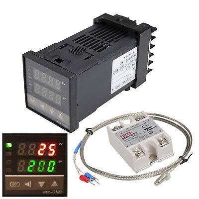REX-C100 220V Digital PID Temperature Controller 40A SSR K Thermocouple Heatsink