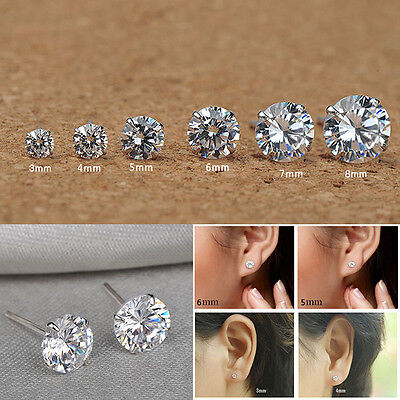 WOMEN MEN GENUINE 925 SOLID STERLING SILVER CUBIC-ROUND STUD EARRINGS Neu