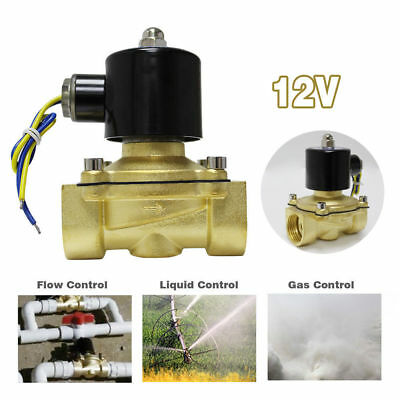 1 inch Brass Electric Solenoid Valve Magnetic Water Air Normally Closed 12V DC
