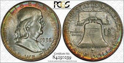 1958-D Franklin Half ~ PCGS MS65FBL~ Mint Set Rainbow Toned TrueView