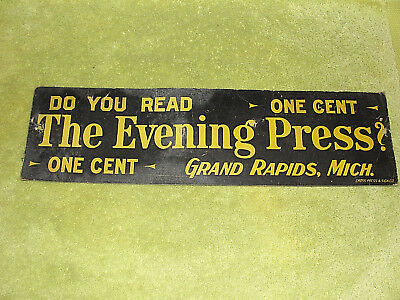 Vintage Newspaper Ad Sign ~ The Evening Press ~ Grand Rapids, Michigan 18 x 5 in