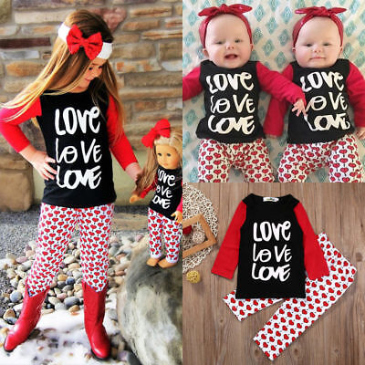 Toddler Kids Baby Girl Clothes Cotton T-shirt Tops+ Heart Pants Outfits US Stock