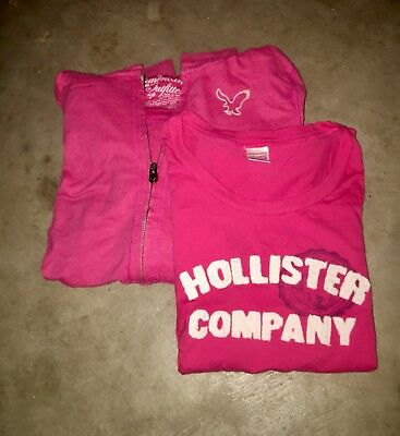 Hollister Hoodie And T-Shirt Bundle - Pink Size Small (VINTAGE) SMALL LOT
