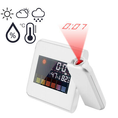 Color Screen Weather LCD Snooze Alarm Digital Projection Clock w/LED Backlight