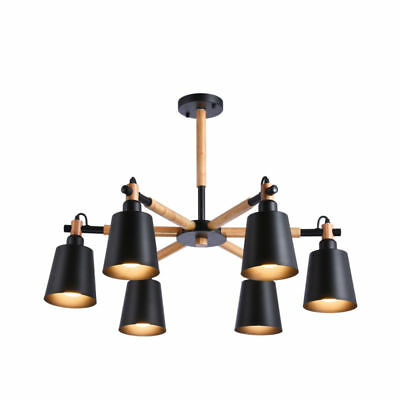 6 Black Metal Shades Chandelier Light Wood Modern Kitchen Pendant Lamp US Stock