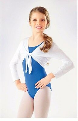 So Danca Girls Modal Long Sleeve Cropped Tie Cover Up Top, White, Size L, NWD