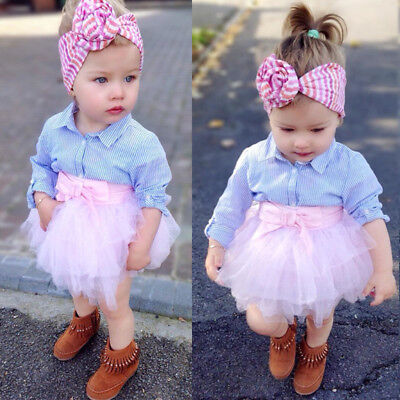 Kids Baby Girls Striped T-shirt Top Lace Tutu Skirt Outfits Set Clothes US Stock