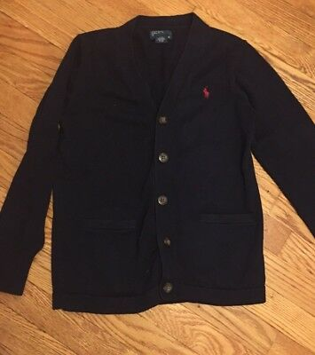 Ralph Lauren Polo Kids Navy Blue Cardigan V-neck Sweater Size M 10-12