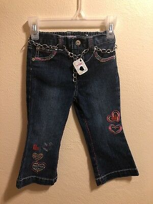 Paris Blues Jeans Size 2T ~ Toddler Girls elastic waistband ~ embroidered Hearts