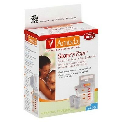 "NEW Ameda Store ""N"" Pour Breast Milk Storage Bags 20 Pack + 2Adapters Breastfeed"