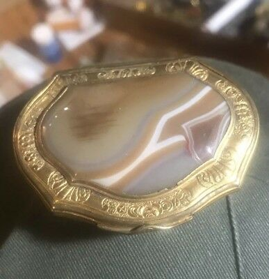 Rare 18th Century Gold Gilt Brass Agate Top Pill Box Continentel Old Natural