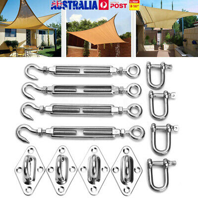 8mm Stainless Steel Shade Sail Accessory Install Kit Four Wall Fixing Mounting