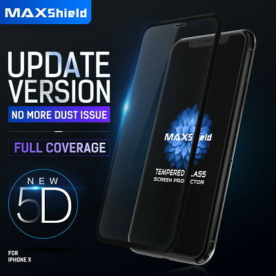 Apple iPhone XS X 8/7 7/8 Plus MAXSHILD 5D Full Coverage Glass Screen Protector