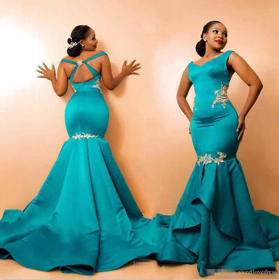 BABY BLUE PLUS Size Mermaid Satin Evening Party Dress Prom Celebrity Formal  Gown
