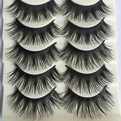 5 Pairs Natural Long Black Eye Lashes Makeup Handmade Thick False Eyelashes FR