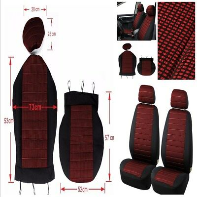 5MM Thick Car Front 2 Seat Cover Cushion+Headrest Cover Durable Jacquard Cloth