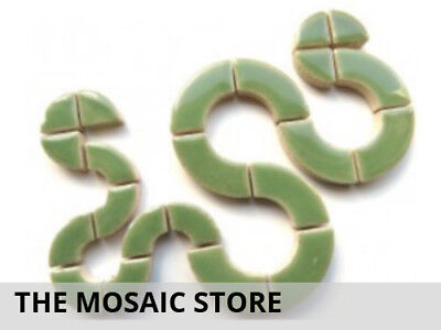 Jade Green Ceramic Circle Bits - Mosaic Tiles Supplies Art Craft
