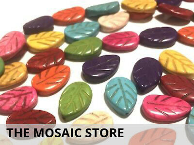 Large Mixed Coloured Leaf Beads | Mosaic Tiles Supplies Art Craft