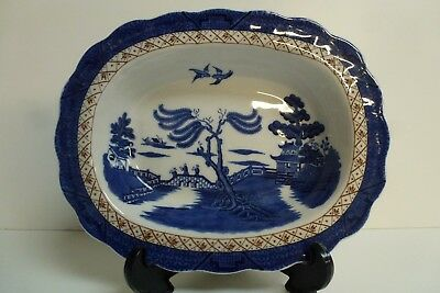 Booths 'Real Old Willow' Blue & White Oval Serving Bowl - Royal Doulton