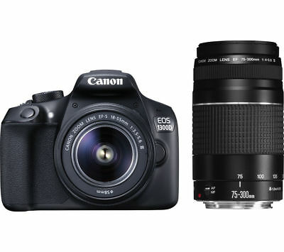 CANON EOS 1300D DSLR Camera with 18-55 mm f/3.5-5.6 & 75-300 mm f/3.5-5.6 Lens -