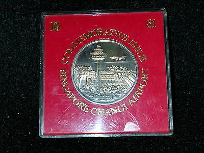 S-55:SINGAPORE CuNi 5 Dollars dated 1981, Opening of Changi Airport, in red case