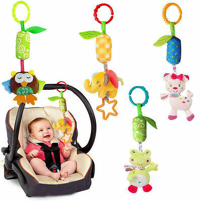 Infant Baby Rattles Plush Animal Stroller Hanging Bell Play Toy Doll Soft Bed US