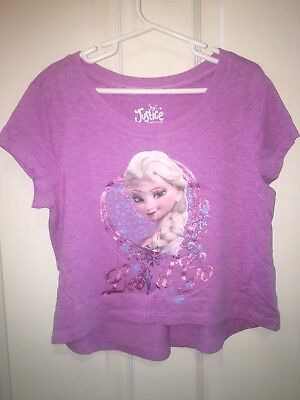 Justice Girls Size 10 Frozen T Shirt Crop Top Pink Elsa Let It Go