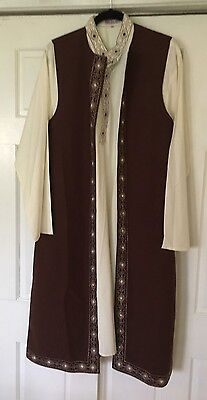 2 piece Beige Kameez Long Brown Vest Embroidered 46 NWOT