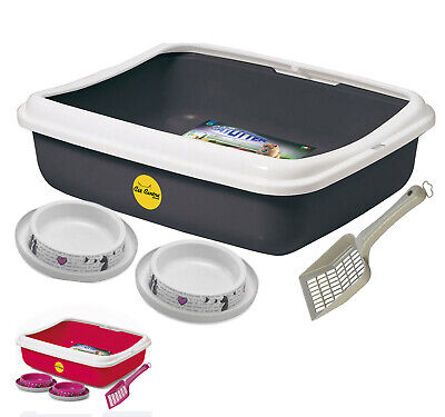 Cat Oval Litter Tray + 2 Non Slip Bowls + Matching Litter Scoop Open Box Toilet
