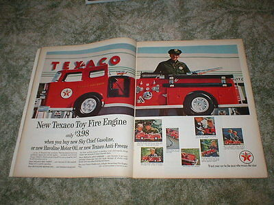 1962 TEXACO Fire Engine Toy Truck ad $3.98  2 pg original Ad