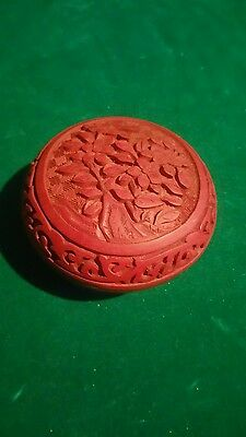 Vintage Chinese Hand Carved Floral Red Cinnabar Box (Round) w/ Brass & Enamel