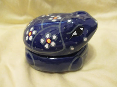 Handmade Terracotta Pottery FROG Trinket Jar Dish Hand Painted & Glazed