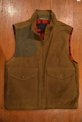 *FILSON* EASTLAKE 10205 Waxed Tincloth Lined Gilet Hunting Outdoor Vest USA S