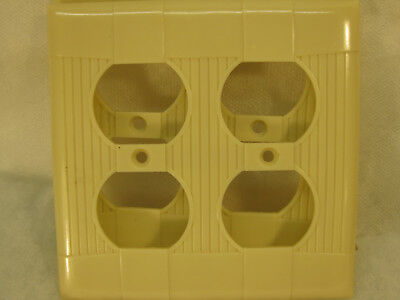 9 New Old Stock Vintage Ribbed Ivory Bakelite 2 Gang Plug  Wall Plate Covers