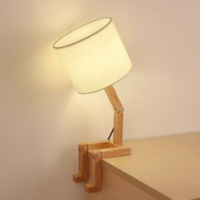 White Nightstand Wooden Table Lamp Transformable Modeling Adjustable
