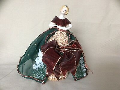Antique German Porcelain Half Doll, Flapper Girl Pincushion Collectible Doll
