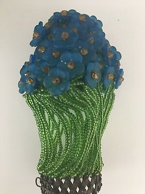 Antique Glass Czech Beaded Blue Light Bulb Cover French Figural Lamp Shade