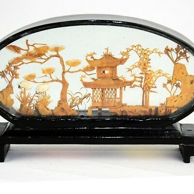 Vintage Chinese Carved Cork Pagoda Diorama San You Black Lacquer  1970s
