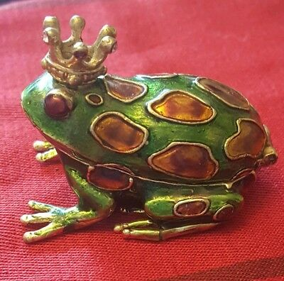 Vintage Monet Enameled Frog Prince Crown Trinket Box Enamel
