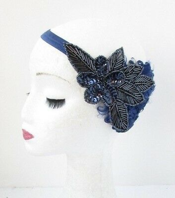 Navy Blue Sequin Feather Headpiece 1920s Headband Flapper Great Gatsby Vtg 4821
