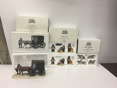 Lot Of 4 Dept 56 Heritage Accessory 'Amish Buggy' FAMILY & FARM ANIMALS