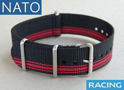 BRACELET MONTRE NATO 20mm (noir rouge) RACING watch strap mechanical chronograph