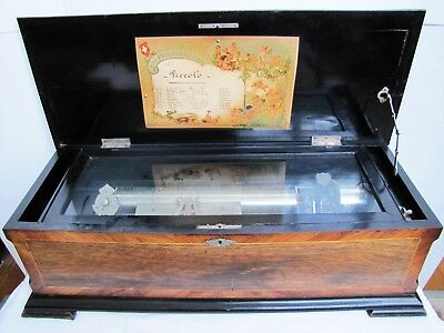 Antique Airs Swiss made large cylinder 8 tune music box. 28.75""