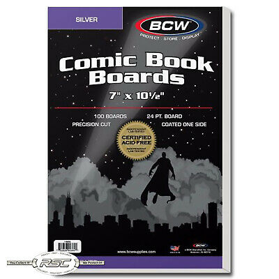 """100 - BCW SILVER AGE Comic Book Boards 7"""" x 10-1/2"""" - Brand New - Acid Free!"""