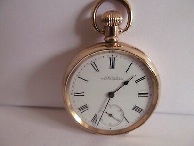1902 Waltham Traveller pocket watch gold plated in very good condition working