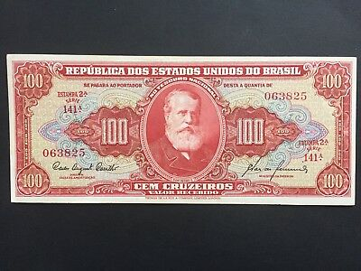 Brazil 100 Cruzeiros P192 issued 1960 Estampa 2a Series 141a EF+